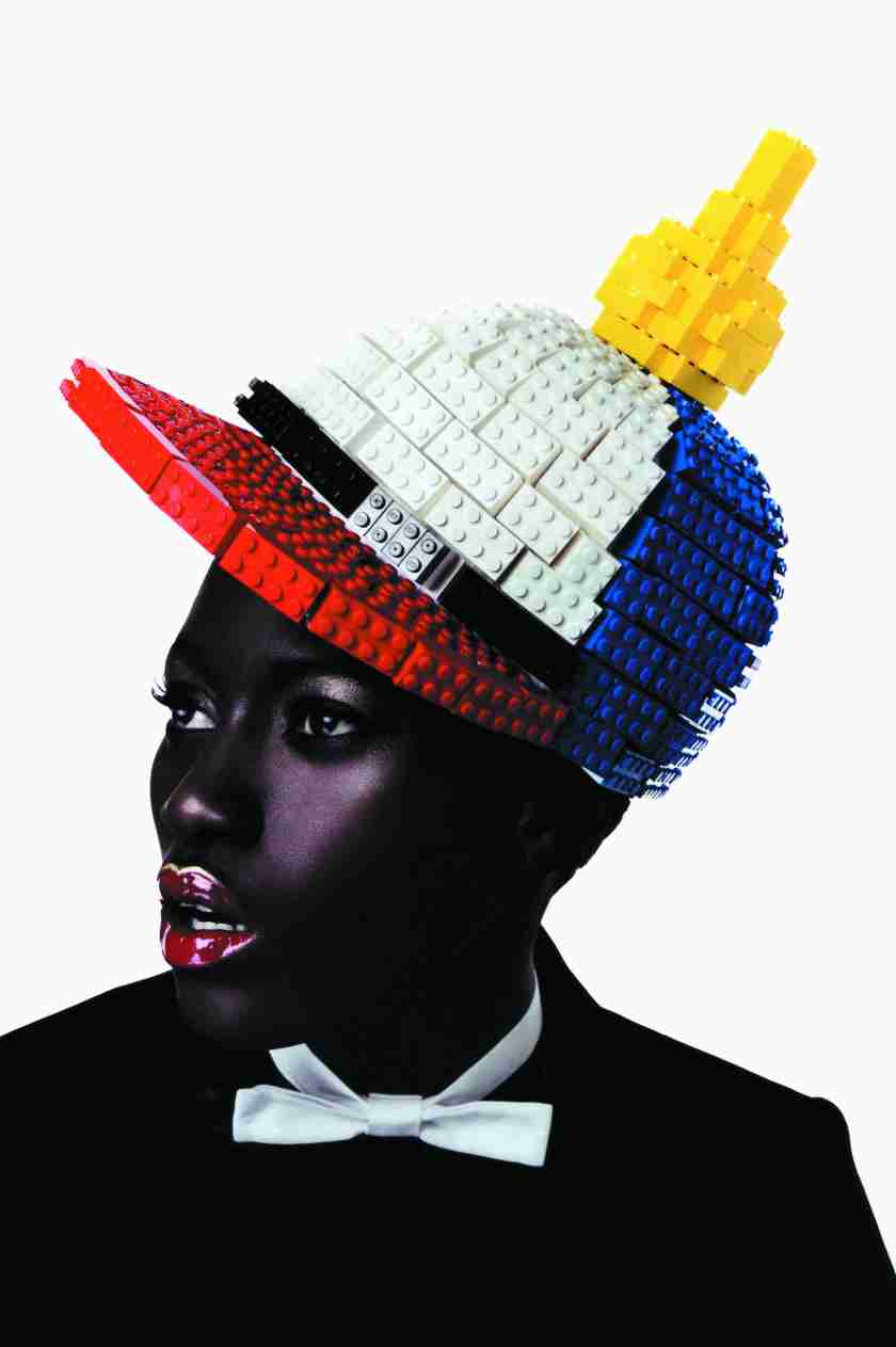 "Lego hat, ""JC in the Sky with Diamonds"" collection, Tush Magazine, Photo © Jean Charles de Castelbajac. All rights reserved"