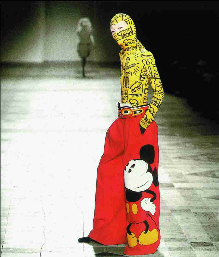 "Winter 2002-2003 : ""Keith Haring"" top and balaclava and ""Mickey"" trousers, ""Electrique Saga"" collection, Photo © Jean Charles de Castelbajac. All rights reserved"