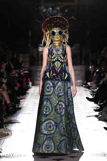 Model wears an outfit , as part of the women s ready-to-wear winter 2019 2020, women fashion week, Paris, France, from the house of Manish Arora